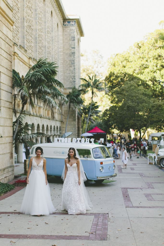 two model brides with kombi and UWA in background