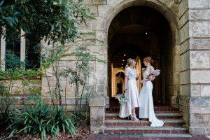 Brides outside Wedding Upmarket at UWA