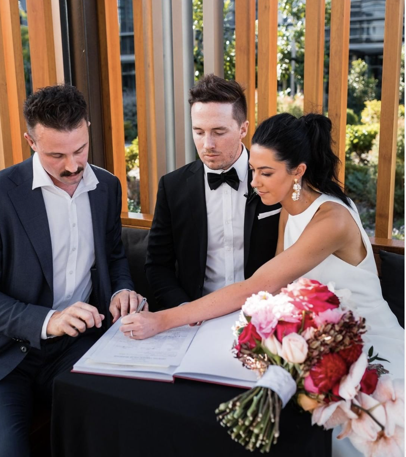 Couple being married by celebrant