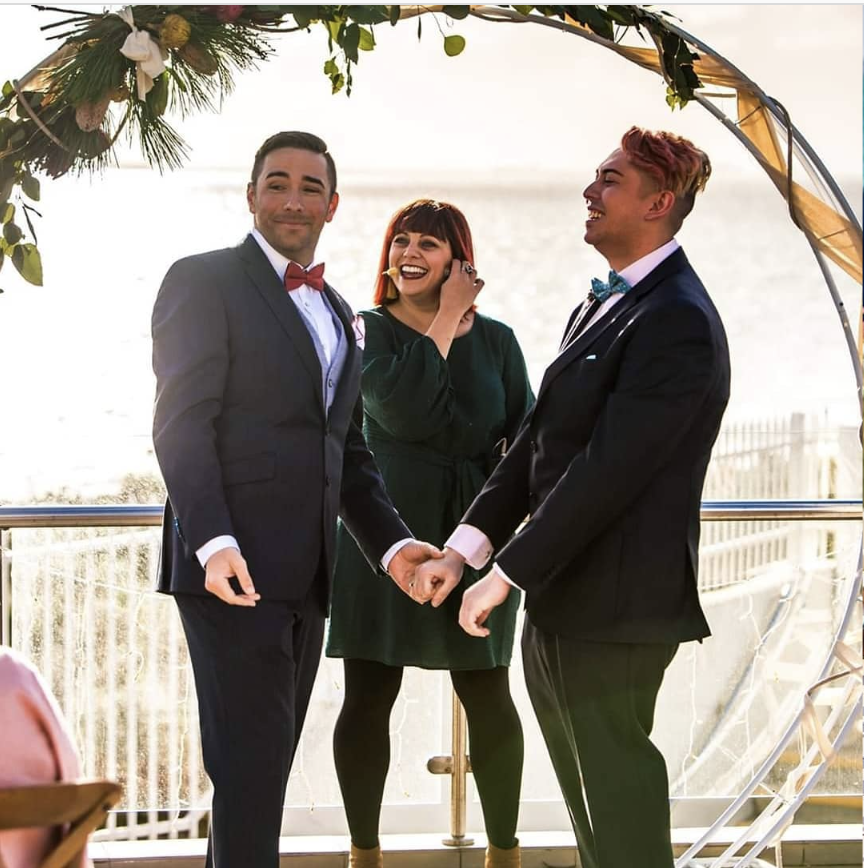 Marriage celebrant with same sex couple