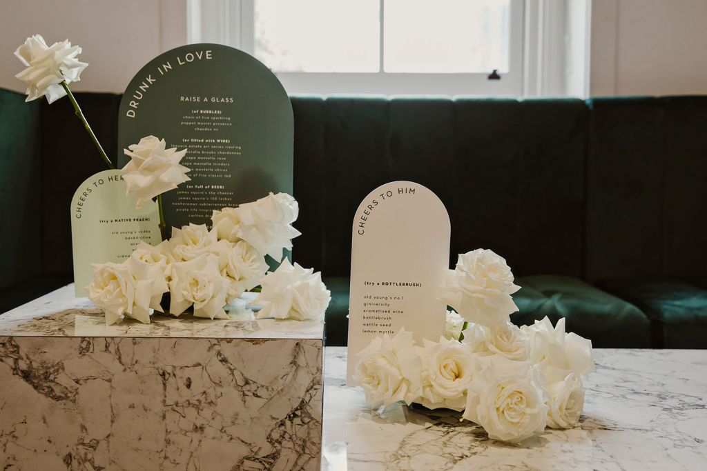 flowers and menu on table